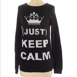 """Small """"Keep Calm"""" Graphic Print Oversized Sweater"""